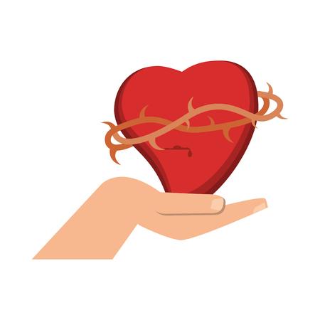 Hand with sacred heart vector illustration graphic design Foto de archivo - 103980029