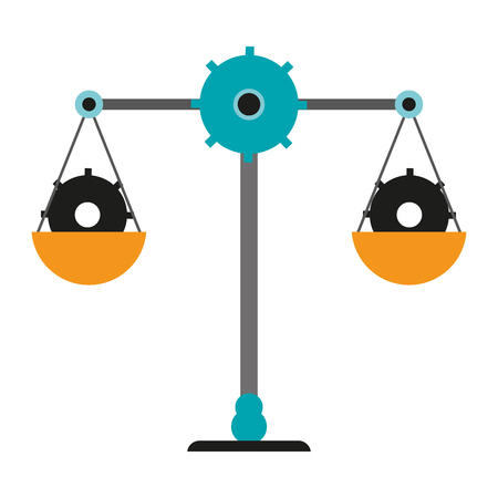 Justice balance with gears symbol vector illustration graphic design