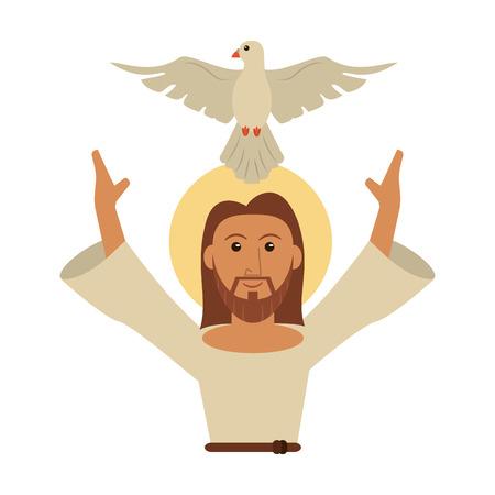 Jesus Christ with dove cartoon vector illustration graphic design