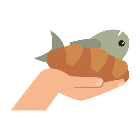 Hand with bread and fish vector illustration graphic design