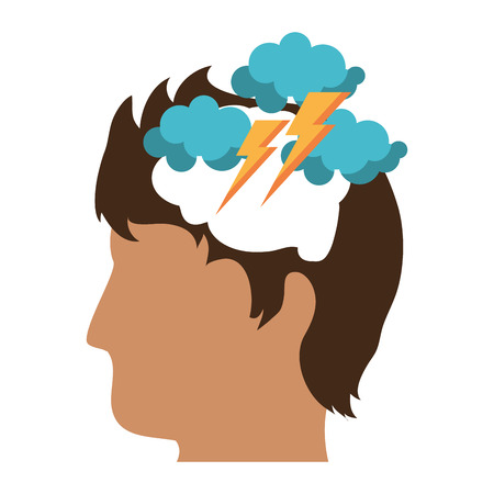 Attacked mind cartoon symbol vector illustration graphic design  イラスト・ベクター素材