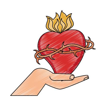 Hand mit Grafikdesign des heiligen Herzensvektorillustrations