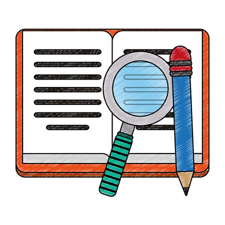 Book open with magnifying glass vector illustration graphic design Çizim