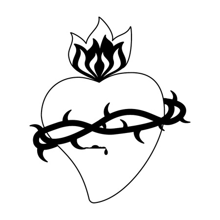 Catholic sacred heart symbol vector illustration graphic design