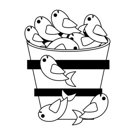 Fishes in bucket symbol vector illustration graphic design