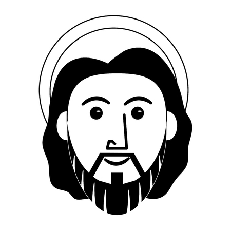 Jesus Christ face cartoon vector illustration graphic design