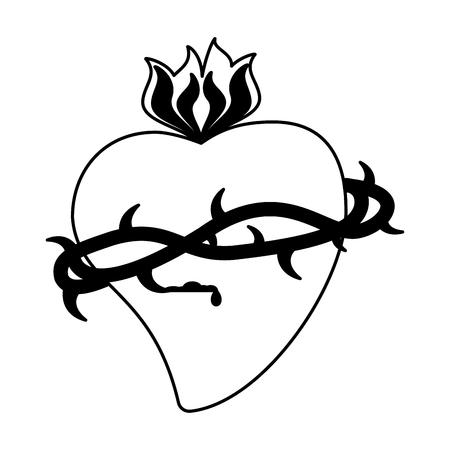 Catholic sacred heart symbol vector illustration graphic design Foto de archivo - 103979891