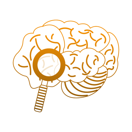 Brain and magnifying glass vector illustration graphic design