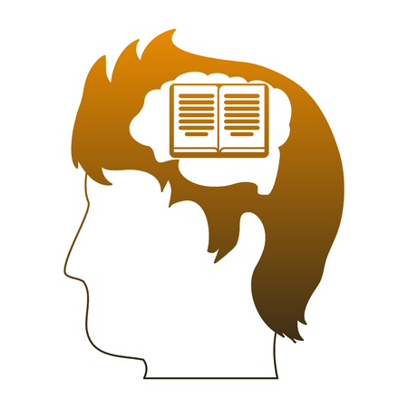 Book inside head silhouette vector illustration graphic design