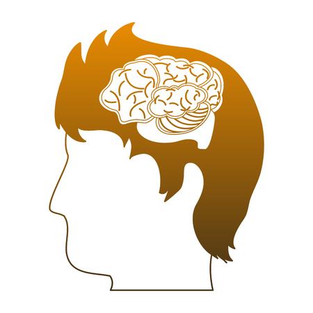 Brain hemispheres cartoon vector illustration graphic design