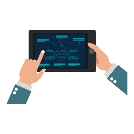 Hands controlling drone from tablet vector illustration graphic design
