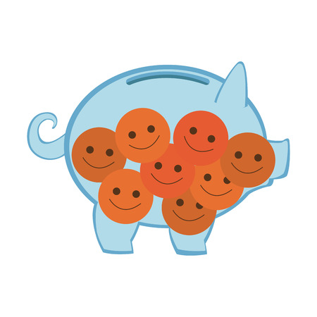 Piggy with smile emoticons vector illustration graphic design