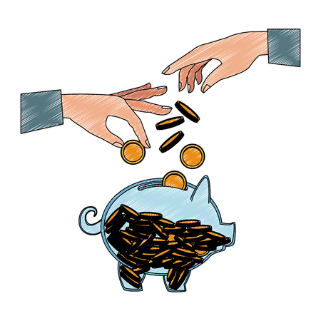 Hand depositing coin into piggy vector illustration graphic design