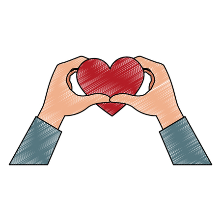 Hands with lovely hearts vector illustration graphic design