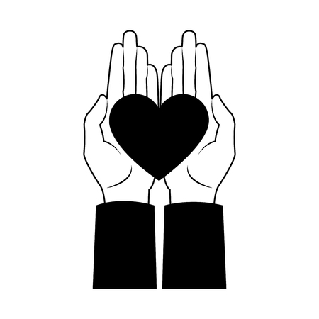Hand with lovely heart vector illustration graphic design