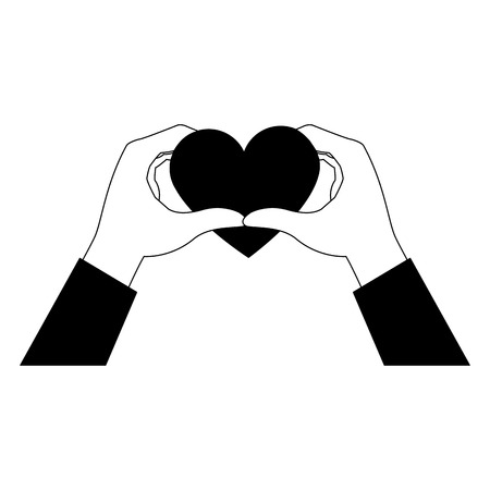 Hands with lovely heart vector illustration graphic design