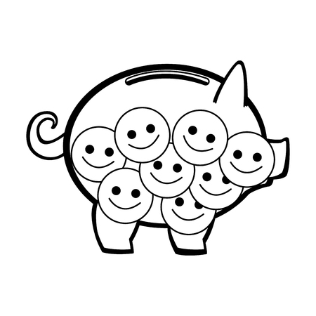 Piggy with smile emoticons vector illustration graphic design