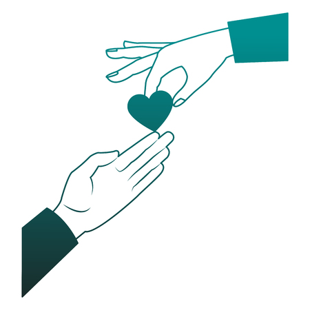 Hand passing heart to other hand vector illustration graphic design Illustration
