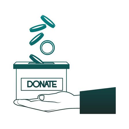 Hand with donate box vector illustration graphic design Illustration