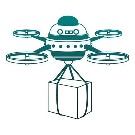 Drone with box vector illustration graphic design
