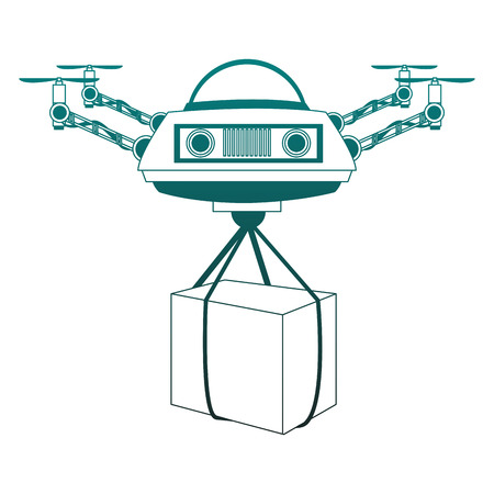 Drone with box vector illustration graphic design