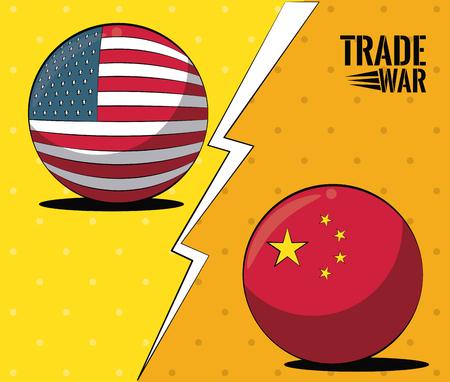 China and USA trade war concept vector illustration graphic design