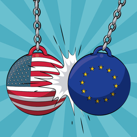 EU and USA trade war concept vector illustration graphic design