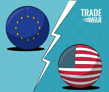 EU and USA trade war concept vector illustration graphic design