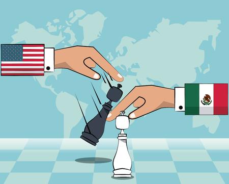 Mexiko und USA Handelskriegskonzept Vektor-Illustration Grafikdesign