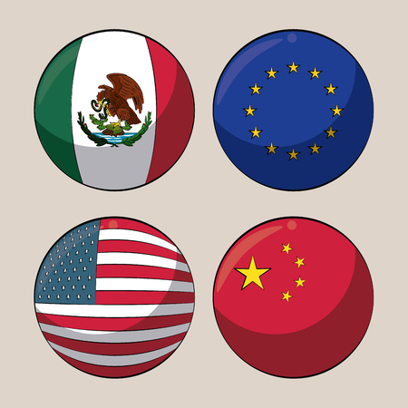 Trade country flags in round symbols vector illustration graphic design