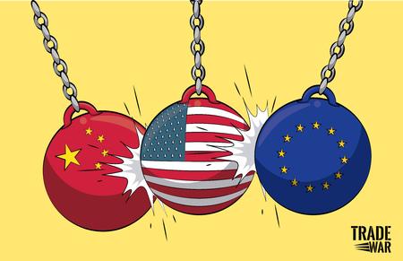Handelskriegsabrissbälle Vektorillustrationsgrafikdesign Vektorgrafik