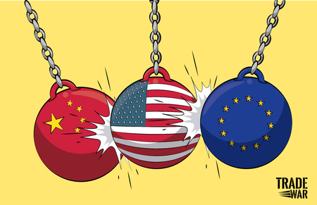 Trade war wrecking balls vector illustration graphic design