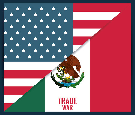 Mexico and USA trade war concept vector illustration graphic design