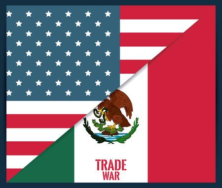 Mexico and USA trade war concept vector illustration graphic design