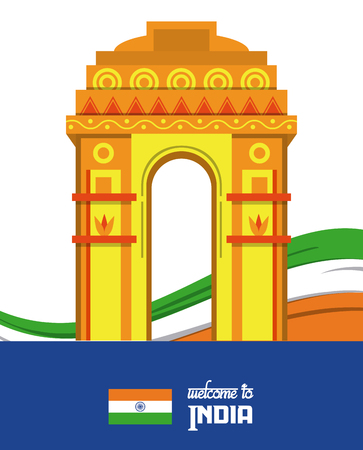 Welcome to india card with information vector illustration graphic design