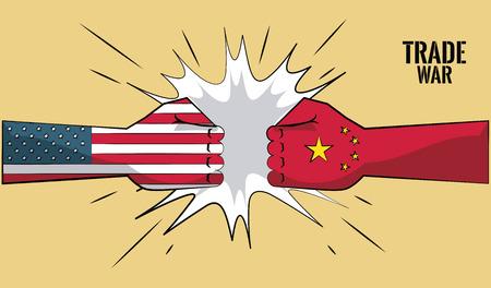 La Chine et les USA commerce guerre concept vector illustration graphisme