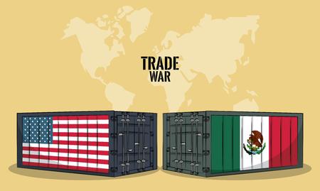 USA and mexico trade war concept vector illustration graphic design
