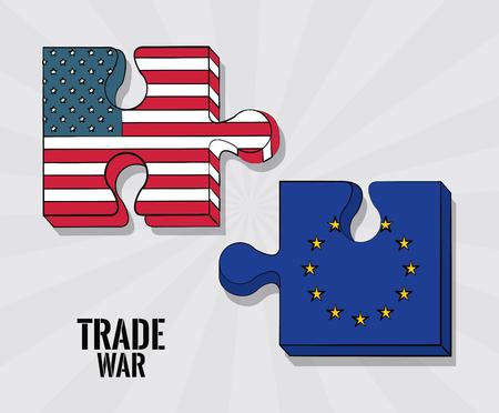 EU and USA trade war business concept vector illustration graphic design