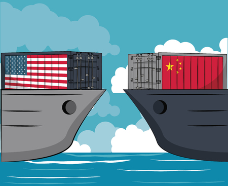 China and USA trade war concept vector illustration graphic design