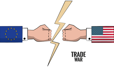 EU and USA trade war business concept vector illustration graphic design