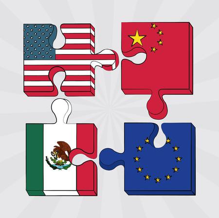 Trade war nations jigsaw pieces vector illustration graphic design Illustration