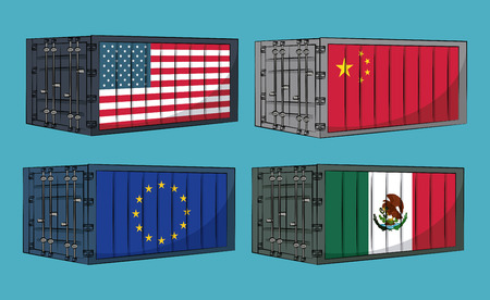 Trade war containers of mexico china USA and EU vector illustration graphic design