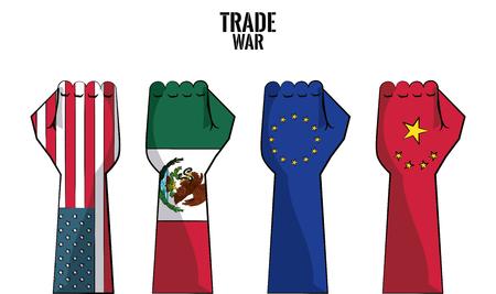 Trade war nations hands clenched vector illustration graphic design Illustration