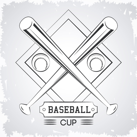 Baseball sport cup with bats emblem in gray and white vector illustration graphic design