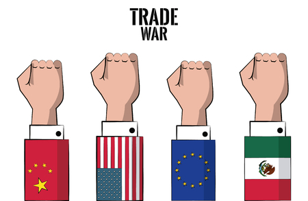 Trade war nations hands clenched vector illustration graphic design Иллюстрация