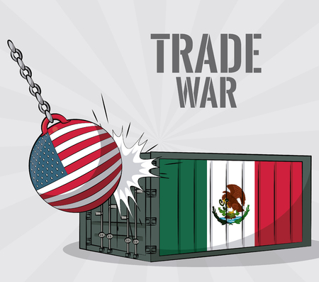 USA and mexico trade war concept vector illustration graphic design