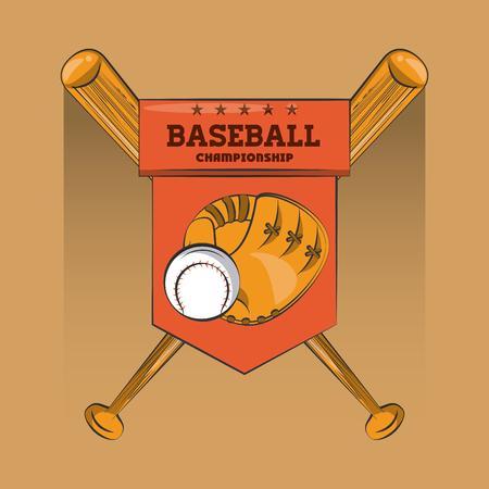 Baseball championship colorful emblem vector illustration graphic design