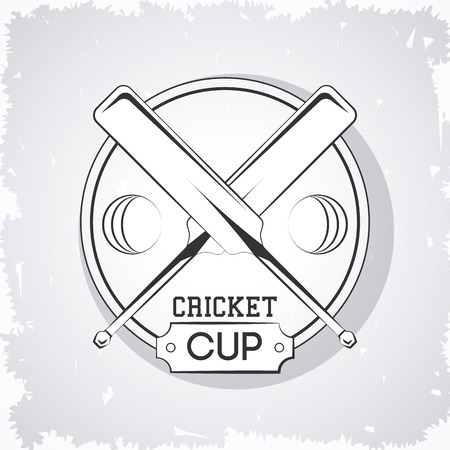 Cricket rackets and ball emblem in gray and white vector illustration graphic design