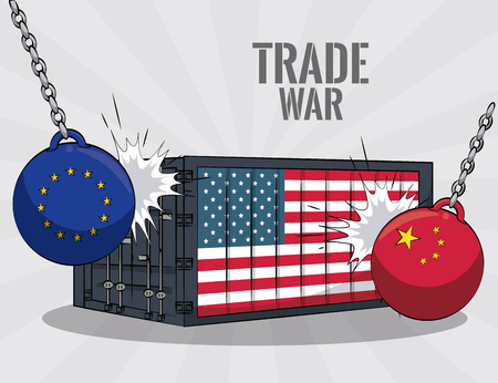 EU and china wrecking ball against usa container vector illustration graphic design