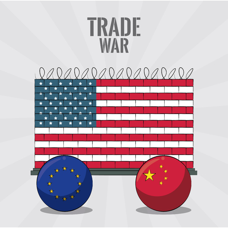 EU China and USA trade war vector illustration graphic design